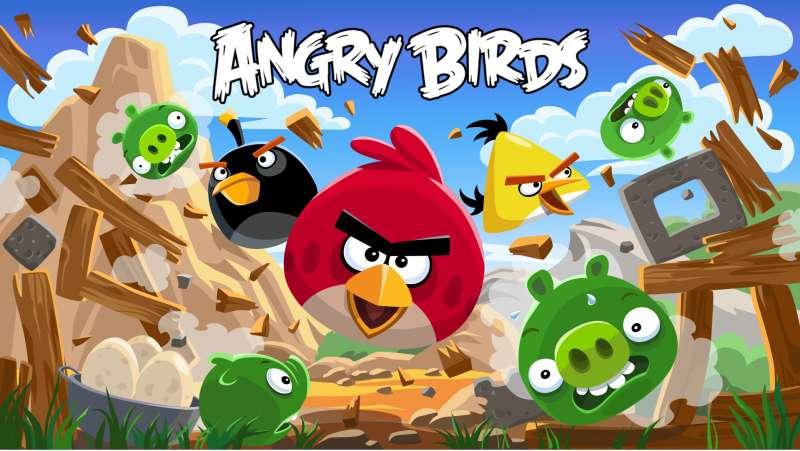 Pájaros enojados - Angry Birds: una serie de juegos de computadora lanzados en diciembre de 2009 por Rovio Mobile, en los que los jugadores usan una honda desde donde se disparan aves hacia cerdos ubicados en diferentes (8×5)