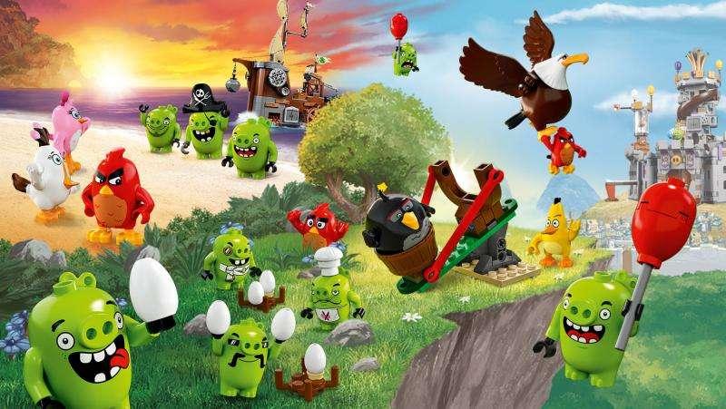 Wuetende Voegel - Angry Birds - eine Reihe von Computerspielen, die im Dezember 2009 von Rovio Mobile lanciert wurden und bei denen die Spieler eine Schleuder verwenden, aus der Voegel auf in verschiedenen Strukturen g (9×7)
