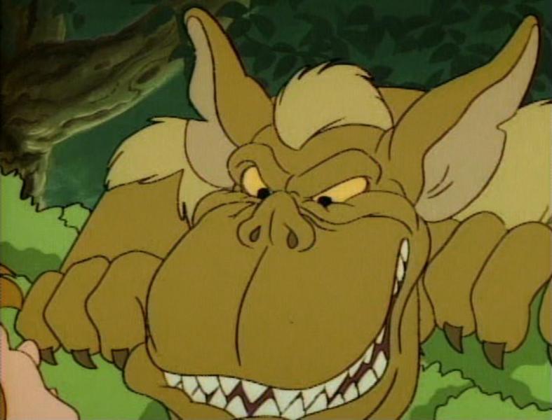 Ogro de Gumysia - Gumisie (Aventuras dos Ursos Gummi da Disney, 1985-1991) - as séries animadas do estúdio da Disney e o nome dos personagens principais da série parecem filhotes de urso. O desenho animado conta as (5×5)