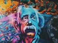 Albert Einstein - muurschildering - Het is moeilijk om een bekendere wetenschappelijke figuur te vinden die beter wordt herkend da