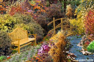 autumn in the garden - bench, garden, plants,