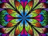Multicolored flower graphics