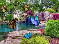 Sziklakert pillangókkal kirakós játék