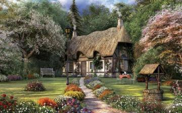 Cottage with garden - Painting old rural houses.