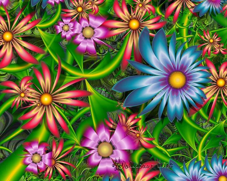 φράκταλ, πολύχρωμα λουλούδια