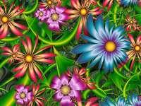 fractale, flori colorate puzzle