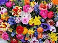 composición floral colorida