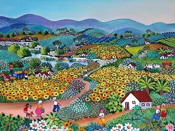 """Peinture américaine naïve - Peinture américaine naïve - peinture """"Ciel bleu et beaucoup de fleurs"""" peinte par Luccia"""