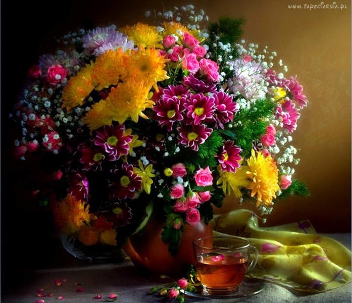 bloemen in een vaas - bos bloemen in een vaas (10×10)