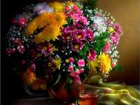Flowers in a vase - a bunch of flowers in a vase