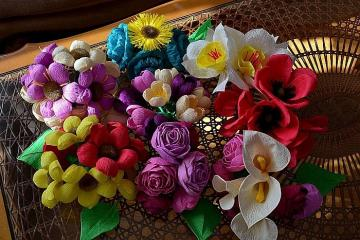 Flowers from colorful paper - Flowers from colorful paper