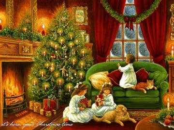 Sorelle a Natale - Christm - Sorelle a Natale. Scena di Natale
