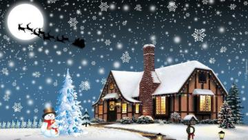Winter Festive landscape - Winter and Christmas, we can not wait. Snow, Christmas tree, gifts. Making snowman, sledging and ice