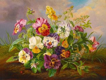 Painted bouquet of pansies - Painted bouquet of pansies