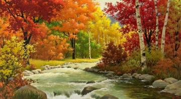 Autumn in the forest - colorful puzzle jigsaw