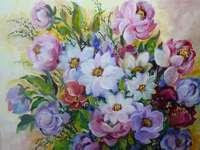 Dália virágok festése