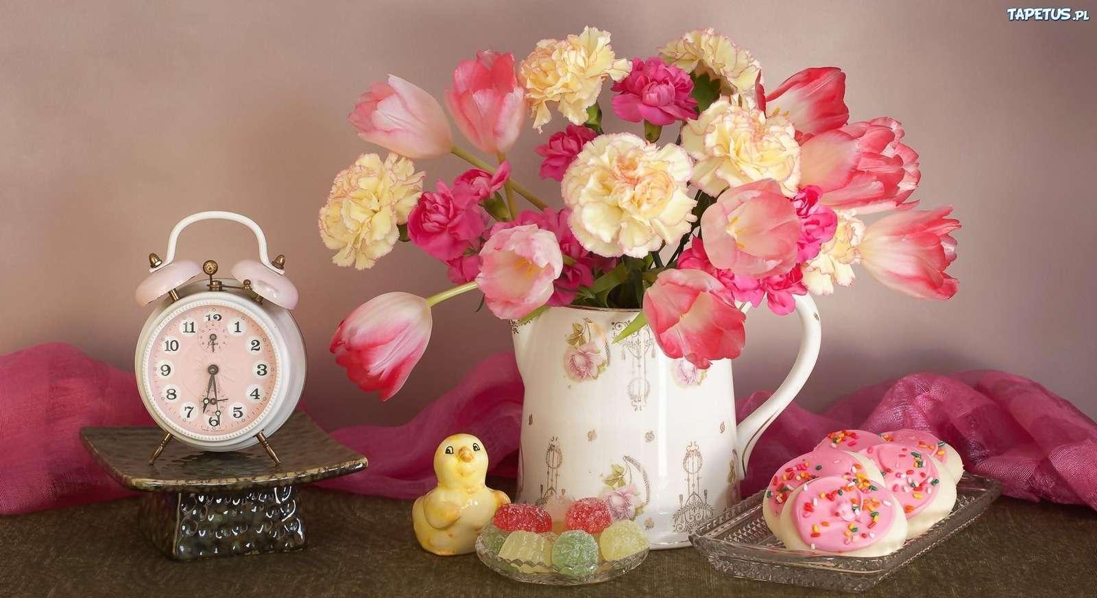 bloemen cd - verschillende soorten bloemen in een kruik en een wekker (10×10)
