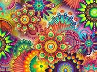 Papier peint à motifs colorés