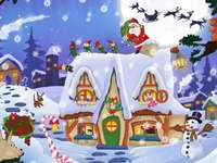Christmas scene - Christmas puzzle. Christmas scene - PUZZLE. It is very difficult and this game is a challenge.