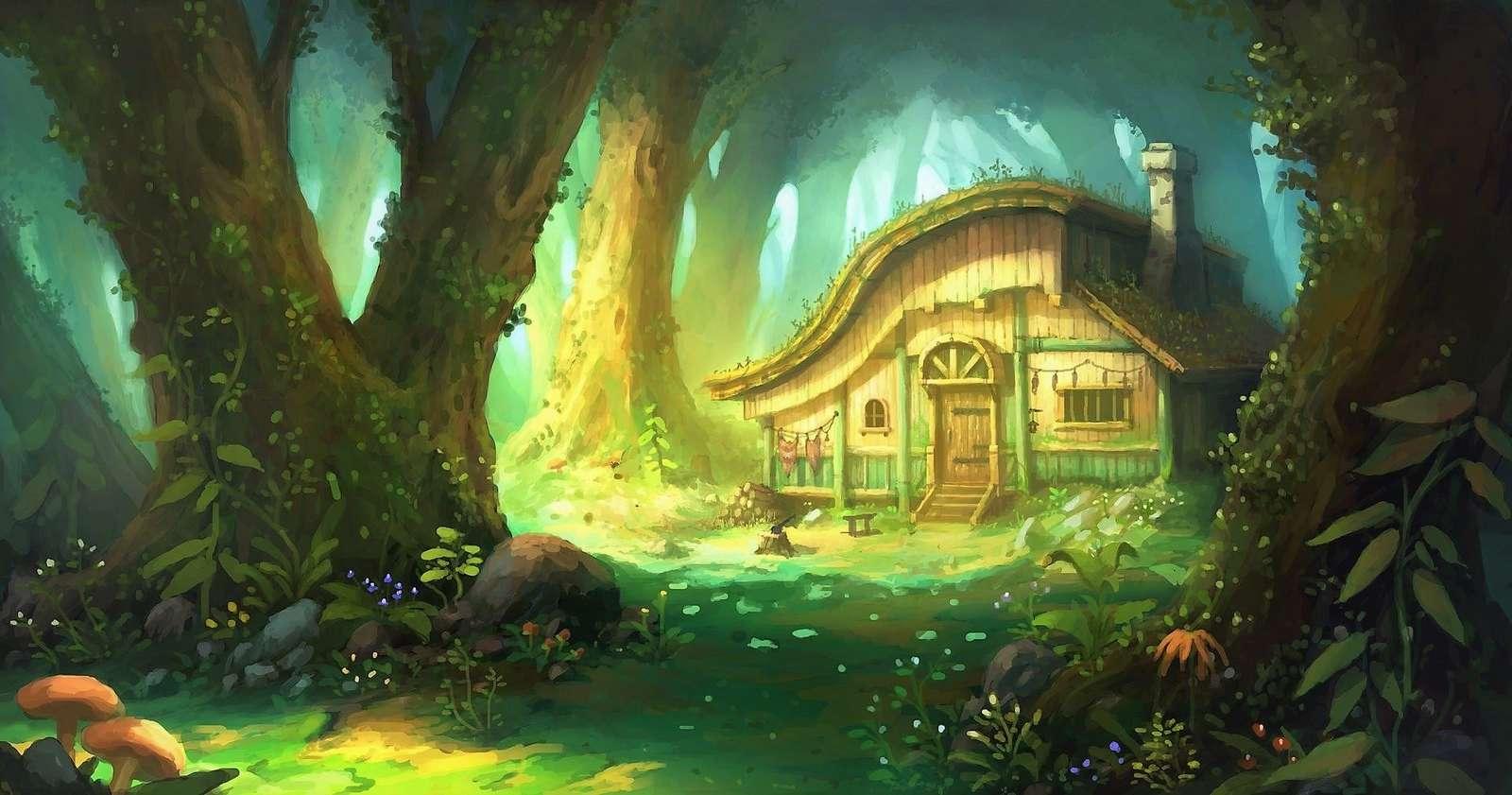 Floresta de conto de fadas - Casa de conto de fadas na floresta de conto de fadas. Quebra-cabeça colorido (10×10)