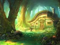 Fairytale forest - Fairy tale house in the fairy tale forest. Colorful puzzle jigsaw.