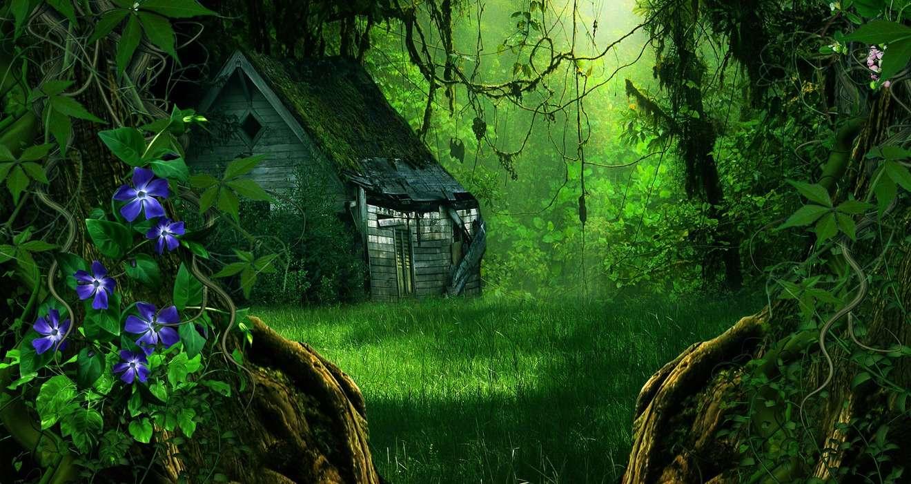 Casa de campo na floresta - quebra-cabeça colorido (10×10)