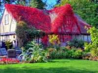 Cottage con giardino - puzzle puzzle colorato