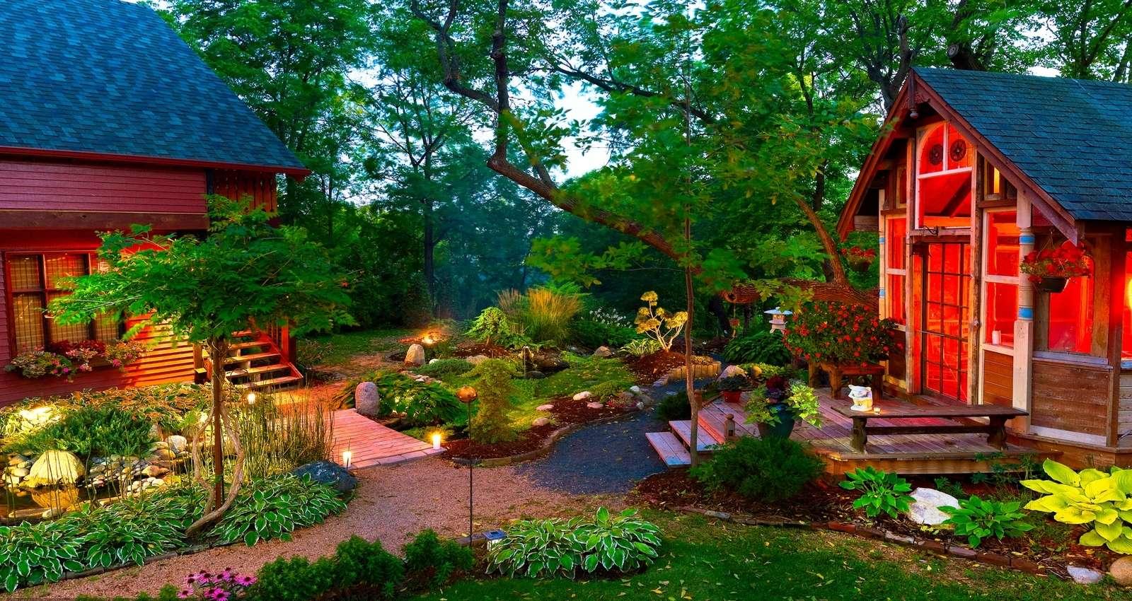Hus med trädgård - färgglada pussel (10×10)