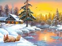 Зима в рисуването - зимен пъзел