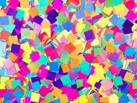 Flocons de confettis colorés