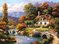Maison en couleurs d'automne