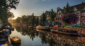 Amsterdam - canal, boats, trees, houses