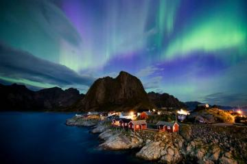 over Great Britain - aurora, lights, houses, rock