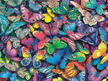 Puzzel met kleurrijke vlinders - Puzzel met kleurrijke vlinders