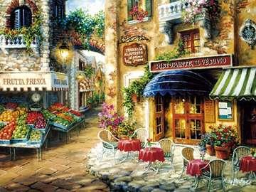 Painting - In a small town - Painting - In a small town
