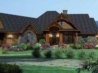 ξύλινο σπίτι - σπίτι, ξύλο, χόρτο, μπαλκόνι