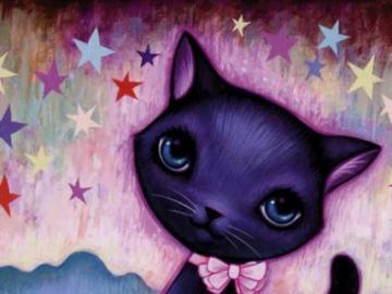 black kitty - Black kitten with bow tie