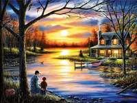 Nad rzeką, ojciec i syn