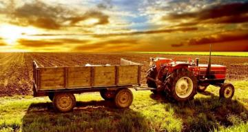 Tractor with trailer - colorful puzzle jigsaw