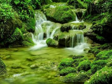 Rochers moussus - Chute d'eau et rochers moussus