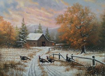 winter in the countryside - Snow-covered fields and rural buildings