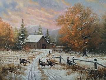 inverno in campagna - Campi innevati e edifici rurali