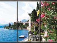 paisagem - Vista de janela de férias com flores