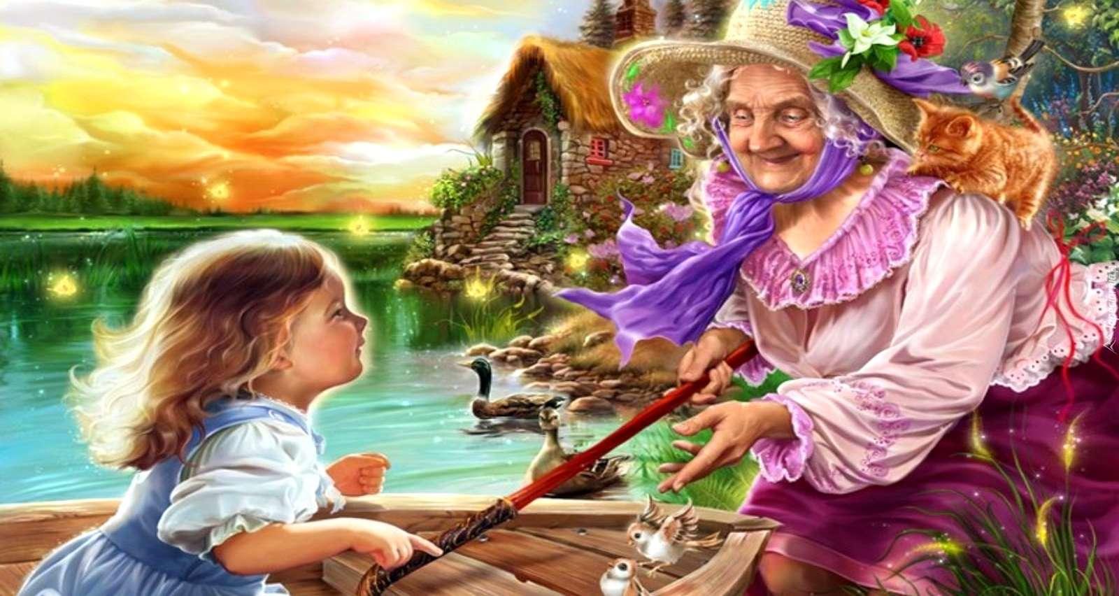 Oma mit Enkelkind - buntes Puzzle (10×10)