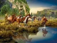 Стадо коне в планинска долина