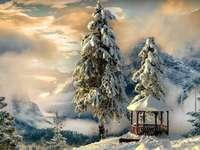 Беседка - зима - Планини, зима, дървета, зима, сняг