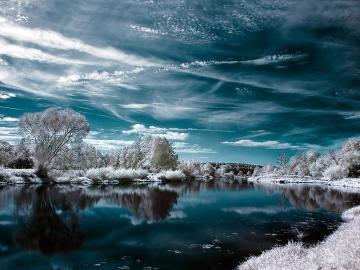 En hiver, au bord de l'eau - rivière, eau, hiver, arbres