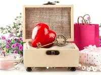 Alla hjärtans pussel - färgglada pussel