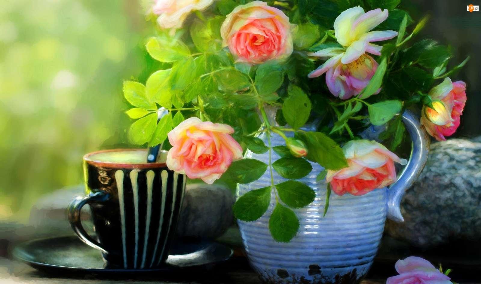 samengesteld - rozen in een kruik en een gestreepte mok (10×10)