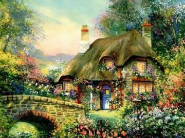 Rural landscape, - The rural landscape is a wooden house with thatched roof or shingle, fenced with a wooden or wicker